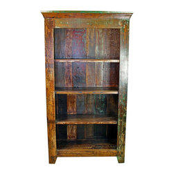 Mexicali Rustic Wood Bookshelf - Distressed Finish Mexicali Rustic Solid Wood Bookshelf with four shelves. This recycled wooden bookcase is made from 100% solid wood. A distressed finish on each piece of rustic office furniture makes each one truly original and one-of-a-kind! Every piece in this rustic furniture line is beautiful and will add color and class to any home decor style. Expecting some slight variations in color. Makes this furniture buying adventure all that more exciting. Approximate Dimensions: 39'' l x 74.5'' h x 15.5'' w