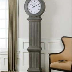 Uttermost Chouteau Floor Clock - 83.6H in. - The Uttermost Chouteau Floor Clock exudes statuesque sophistication. The clock, made of metal and engineered wood, comes with an antiqued, dusty gray finish and burnished edges and brings an old European persona to any space in your home. The weathered clock face has Roman numerals and a vintage typeface, giving a nod to its yesteryear inspirations. The Uttermost Chouteau Floor Clock, standing more than 6 feet tall, has deep vertical carvings that emulate the stately columns found in Rome but could easily be seen replicated on the street clocks of London. It keeps reliable and accurate time with quartz movement, the most widely used form of time keeping around the world.A coordinating mantel clock is also available.About UttermostThe mission of the Uttermost Company is simple: to make great home accessories at reasonable prices. This has been their objective since founding their family-owned business over 30 years ago. Uttermost manufactures mirrors, art, metal wall art, lamps, accessories, clocks, and lighting fixtures in its Rocky Mount, Virginia, factories. They provide quality furnishings throughout the world from their state-of-the-art distribution center located on the West Coast of the United States.