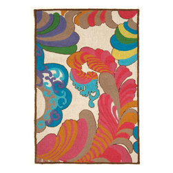 """Trina Turk - Trina Turk Coachella Hook Rug - The cool Coachella hook rug is vibrant and energetic. Trina Turk's design takes inspiration from the multi-cultural mix of California life as colors and lines swirl and sway in pink, orange, blue, green and purple. Handcrafted with a focus on contemporary style for your kitchen, bath or living space. Rug measures 27"""" x 40""""; 100% wool with cotton canvas backing; Rug pad recommended (not included)"""