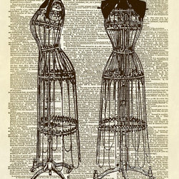 Altered Artichoke - Two Antique Wire Dress Forms Dictionary Art Print, Sepia - This print features beautiful vintage illustrations of two antique wire dress forms. This would be a wonderful print for your sewing room, office, or really any room. It's simply lovely!