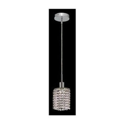 Elegant Lighting - Mini Clear Crystal Pendant w 1 Light in Chrome (Spectra Swarovski) - Choose Crystal: Spectra Swarovski. 3 ft. Chain/Wire Included. Bulbs not included. Crystal Color: Crystal (Clear). Chrome finish. Number of Bulbs: 1. Bulb Type: GU10. Bulb Wattage: 55. Max Wattage: 55. Voltage: 110V-125V. Assembly required. Meets UL & ULC Standards: Yes. 4.5 in. D x 8 to 48 in. H (3lbs.)Description of Crystal trim:Royal Cut, a combination of high quality lead free machine cut and machine polished crystals & full-lead machined-cut crystals..SPECTRA Swarovski, this breed of crystal offers maximum optical quality and radiance. Machined cut and polished, a Swarovski technician¢s strict production demands are applied to this lead free, high quality crystal.Strass Swarovski is an exercise in technical perfection, Swarovski ELEMENTS crystal meets all standards of perfection. It is original, flawless and brilliant, possessing lead oxide in excess of 39%. Made in Austria, each facet is perfectly cut and polished by machine to maintain optical purity and consistency. An invisible coating is applied at the end of the process to make the crystal easier to clean. While available in clear it can be specially ordered in a variety of colors.Not all trims are available on all models.
