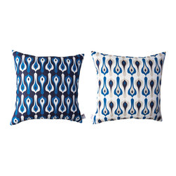 Kaypee Soh - Bacal Pillow - Indigo - Bacall - Modern, sophisticated and Moroccan inspired, the Bacall is as timeless as its muse, the iconic Casablanca. Pair it with our Ziggy pattern and you've got your own Bogie and Bacall!�