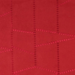 Red Embroidered Stitched Suede Heavy Duty Upholstery Fabric By The Yard - P3921 is a heavy duty upholstery grade suede polyester fabric. This fabric is great for all indoor applications.