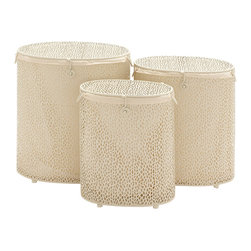 Benzara - Modern Style The Sparkling Set of 3 Metal Oval Hamper Home Decor 67164 - Modern and unique inspired style the sparkling set of 3 metal oval hamper living and family room home accent decor