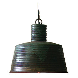 Ribbed Metal Pendant Lamp - Give any space a feeling of history and a life well lived with the Ribbed Metal Pendant Lamp. It's the perfect accent light to hang in the kitchen above a counter or breakfast table for a hint of rustic soul.