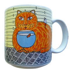 Taylor and Ng - Classy Critter Kitty Katfish Mug - Taylor & N - Kitty Katfish in a color design on a White 11 oz Ceramic mug. Dishwasher, microwave safe. Classy Critter Mugs collection. Stackable for easy storage. 3.25 in. L x 3.25 in. W x 3.5 in. H