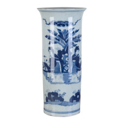 Oriental Danny - Blue and white porcelain vase - Elegant blue and white porcelain vase with ladies in garden design. Vase is hand made and hand painted. Great for flower arrangement.