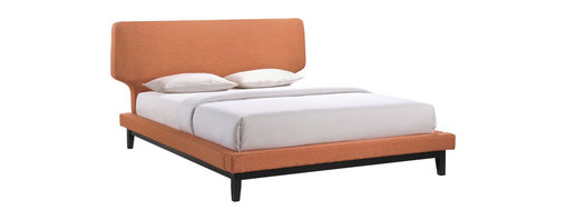 LexMod - Bethany Queen Bed Frame in Black Orange - Broad and luxurious, the Bethany queen size platform bed is an instant centerpiece for any modern bedroom. Complete with a gracefully tapered padded foam headboard and sturdy rubberwood legs, Bethany is a site to behold for both its class and comfort. The Bethany queen size platform bed requires assembly and should be spot cleaned only. Headboard included. Queen size mattress not included. Box spring not needed.