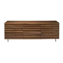 Stripey 3 door Sideboard - This long sideboard is long on storage and long on style. The textured facade emphasizes horizontal lines. Use it in the dining room, office (it has cable management built in) or to hold your vintage '80s t-shirt collection in the bedroom. Yup, I know my Sugarcubes, REM, Duran Duran and U2 tees would all feel at home in here.
