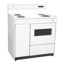 "Brown - 36"" Electric Range with Electronic Clock, Oven Window and Light - Color: white