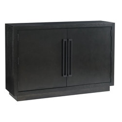 Lexington - Lexington Carrera Sergio Hall Chest - The Sergio hall chest offers striking design with custom vertical pulls on the doors. With a depth of 15 inches, the piece is ideally sized for use as a statement piece in entry halls. Behind the two doors are a total of four adjustable shelves.Carbon gray finish.