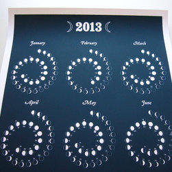 2013 Moon Calendar in Night Sky Silkscreen Print by Rendij Studio - I like the graphic quality and the deep blue of this lunar poster.