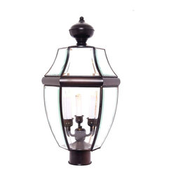Maxim Lighting - Maxim South Park 3-Light Outdoor Post Lantern in Burnished - 6098CLBU - South Park is a traditional, early American style collection from Maxim Lighting Interior available in multiple finishes with Clear glass.