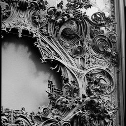 Iron Ornament, Schlesinger and Mayer Department Store Print - Originally named the Carson, Pirie, Scott and Company Department Store, 1 South State Street (1-19 South State Street 1-15 East Madison Street), Chicago, Cook, IL. Photographed by Richard Nickel on 4x5 film. Related architects and companies, Louis Sullivan, George Elmslie, Schlesinger and Mayer, Carson, Pirie, Scott and Company, DM Burnham and Company, Holabird and Root.