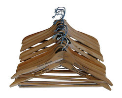 Consigned - Collection Of Midcentury Wood Hangers, Set of 11 - Collection of 14 midcentury wood coat hangers including logo'd examples from Hilton Hotels, Tom James, Renbergs Fine Clothiers, Clarke's Good Clothes.  Perfect accessories for your midcentury home or office.