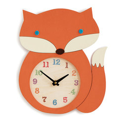 Inova Team -Modern Wood Handmade Fox Clock - Sweet, sly, and full of colorful flair, this charming fox keeps the time in storybook style. Beautifully hand painted, this inquisitive timepiece is perfect for a child's playroom, kitchen, or anywhere your imagination may roam. Handmade in Long Eddy, NY.