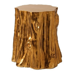 Arteriors Subin Stump Table - What is more gorgeous than a stump table? A golden stump table, of course. This piece is right up my alley, as it's the perfect contrast of simple and natural against high-gloss glamour.