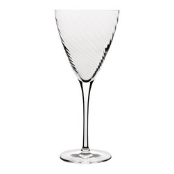 Luigi Bormioli - Luigi Bormioli Hypnos 16.25 oz. Red Wine Glass - Set of 4 - 10944/01 - Shop for Drinkware from Hayneedle.com! Red wine lovers can add another match to their pairings of the perfect wine and cheese with these Luigi Bormioli Hypnos 16.25 oz. Red Wine Glass - Set of 4. Sophisticated in both their appearance and construction the glasses feature an innovative spiral optic design on the inside of their large bowls which allows your wine to achieve its most optimal flavor thanks to aeration and breathability. The glasses which hold more than 16 ounces of your favorite beverage were constructed using high-tech blown glass that is 100 percent lead-free and break resistant. Dishwasher or top-rack dishwasher safe the glasses also feature titanium reinforced stems.About Luigi BormioliFounded in 1946 by Mr. Luigi Bormioli himself the Bormioli family continues Luigi s mission of commitment to great design traditional Italian craftsmanship and new innovative glassmaking technology to produce the world s most beautiful and durable glassware. Producers of wine glasses tumblers decanters and everything in between Luigi Bormioli is located in Parma Italy halfway between Bologna and Milan and is influenced by the region s reputation for art music and higher learning. Bormioli s glassmaking construction rivals fine crystal in its appearance but is 100-percent lead-free affordable and widely available.