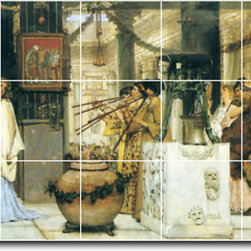 Picture-Tiles, LLC - The Vintage Festival Tile Mural By Lawrence Alma-Tadema - * MURAL SIZE: 36x84 inch tile mural using (21) 12x12 ceramic tiles-satin finish.