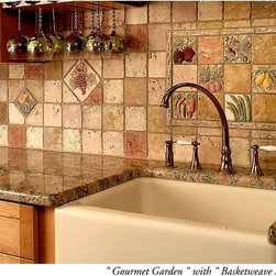 Gourmet Garden Tiles - in this kitchen renovation, our customer wanted an eclectic look and chose to mix from our different series of tiles. she added fruits and a grape tile to her gourmet backsplash and she loves the results