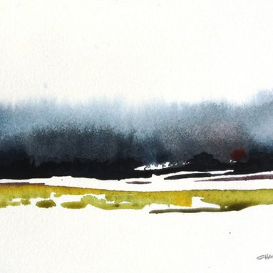 Winter Storm - Original Watercolor Painting - Snow clouds blowing by to hide the mountains in January.
