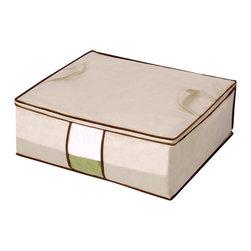 StorageManiac - StorageManiac Collapsible Storage Bag with Cover, Storage Bag with Brown Trim - Features: