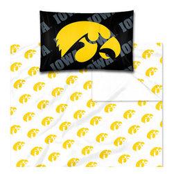 The Northwest Company - NCAA Iowa Hawkeyes Logo Twin-Single Bed Sheet Set - Features: