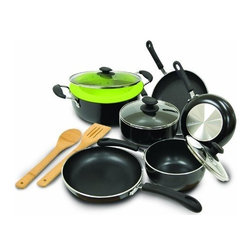 """Epoca - Heavy Weight Cookware Set - Cook well and Do Good with this Ecolution Eco-Friendly 12 Pc. Heavy Weight Cookware Set. Ultra thick aluminum pans guarantee even heating for optimum performance. Squeezable silicone handles always keep cool. Non-stick Hydrolon coating is an ecologically advanced water based coating that is made without PFOA for fewer greenhouse gases. Glass lids let you see what's cooking without letting heat escape. Dishwasher Safe. Set includes: 8"""" Fry Pan 9-1/2"""" Fry Pan 11"""" Fry Pan 1 Qt. Saucepan with Glass Lid 2 Qt. Saucepan with Glass Lid 5 Qt. Dutch Oven with Glass Lid Collapsible Silicone Steamer Bamboo Spoon and Bamboo Spatula."""