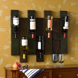 Southern Enterprises Navarra 7 Bottle Wall Mount Wine Rack - The Southern Enterprises Navarra 7 Bottle Wall Mount Wine Rack by Southern Enterprises is a stylish designed piece with an eye catching geometric look. A decorative art piece on its own it duals as a wine rack to display your ideal wine taste. Designed for wall mount it holds up to 7 bottles of your favorite wine. Metal construction in multi-color earth tone finish. A great conversation piece with your next entertaining. Overall dimensions: 32W x 8D x 27.25H inches. About SEI (Southern Enterprises Inc.)This item is manufactured by Southern Enterprises or SEI. Southern Enterprises is a wholesale furniture accessory import company based in Dallas Texas. Founded in 1976 SEI offers innovative designs exceptional customer service and fast shipping from its main Dallas location. It provides quality products ranging from dinettes to home office and more. SEI is constantly evolving processes to ensure that you receive top-quality furniture with easy-to-follow instruction sheets. SEI stands behind its products and service with utmost confidence.