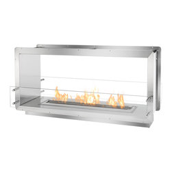 "IGNIS - Ignis Bio Ethanol Fireplace Insert FB3600-D Firebox - A rectangular-shaped Ethanol Firebox offered by Ignis Development, the FB3600-D Ethanol Firebox was designed to incorporate into innumerable commercial and residential settings. A see-through fireplace that brings a level of sophistication and stylishness into any space, the FB3600-D offers a fire ribbon of over 31"" in length by way of Ignis' ever-popular EB3600 Ethanol Fireplace Insert. Made by using grade 304 polished stainless steel, known for its high-quality and durability, this ethanol fireplace boasts double wall construction, each with a width of 3mm. Furthering its level of safety, the metal is shielded with a patented rock wool insulation, making this ethanol insert heat resistant and one of the safest fireplaces in the industry. When creating this tough, zero clearance fireplace, easy installation and easy consumer use were considered as the first elements in the design stage. Using the surrounding flange, simply build the ethanol insert into the wall, existing fireplace enclosure or custom application. Because this firebox burns environmentally safe fuel, there is no need to install a special vent or chimney and no electricity is required. The FB3600-D Ethanol Fire Box produces striking clean burning flames that reach for the sky, battling one another and creating a fiery spectacle. This incredible show may be witnessed by onlookers in two rooms, thanks to its open, two-sided construction. For safety measures and style, two panes of tempered glass are found in front of the flame."