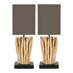 Safavieh - Aspen Branch Mini Table Lamp ZMT-LIT5012A (Set of 2) - Natural; Brown Shade - Celebrate the beauty of nature in your home with the artful Aspen Branch Mini Table Lamp. A soothing arrangement of natural tree branches gathered in the forest forms the graceful bases of this lamps, each crowned with a light brown shade woven of cotton/terylene fiber blend. (Sold in set of 2).