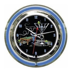 """Michael Godard Fine Art - Pool Shark II Clock (18 in.) - Choose Size: 18 in.. Inner neon white to illumiate artwork. Exterior neon colored. Power: Ac adapter plugs into power outlet (120v) requires 1 """"aa"""" battery. Pull chain gives customer choice of blink feature or solid neon. Case in polished chrome finish resin housing. 14 in.: 14 in. Dia. x 3.25 in. D (5 lbs.). 18 in.: 18 in. Dia. x  5 in. D (10 lbs.)"""
