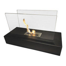 Nu-Flame - Nu-Flame Fiamme - Fiamme is Italian for ablaze. This floor fireplace makes a huge impact in any room. A black modern base supports two reflective glass panels. Warm and inviting Fiamme features a large capacity burner for extended enjoyment.