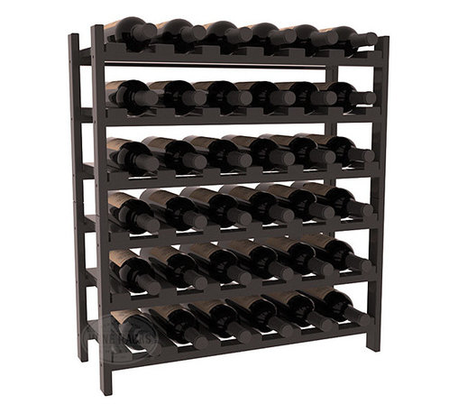 Wine Racks America - 36 Bottle Stackable Wine Rack in Ponderosa Pine, Black + Satin Finish - A pair of discounted wine racks allow double wine storage at a low price. This rack accommodates all 750ml bottles, Pinots and Champagnes. The quintessential DIY wine rack kit. Your satisfaction is guaranteed.