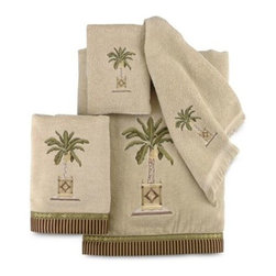 Avanti - Avanti Banana Palm Bath Towel in Linen - Palm trees lend a calming element to this towel ensemble. Pattern is embroidered adding to the elegance of this all-cotton collection.