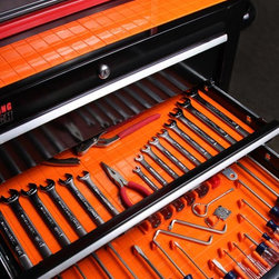 Silicone Drawer Organizers - Put an end to your drawer clutter with our thick, non-slip, pliable Orange Drawer Organizer Set with Liner. This drawer organization system utilizes an innovative tacky property -- which distinguishes it from the competition. This tack keeps the liner from sliding and helps secure the dividers in your drawer. Should the surface become dirty and less effective, simply wipe down with soapy water and it will perform like new. The large 14 by 20 inch mat can be trimmed to other sizes to fit a variety of drawer dimensions. Made of quality silicone, the liner is easily cleaned and protects your drawer bottoms from scratching, keeping your tools neat and organized. Fifteen tool holders are included to hold tools and prevent them from sliding around in the drawer. The drawer organizer mat is also good for keeping your office or craft room organized. Just use sharp shears to customize the liner to fit your drawers.
