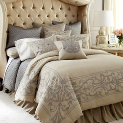 Callisto Home - Callisto Home European Sham with Embroidered Border - This stunningly detailed bedding ensemble showcases natural and silver linens embellished with intricate embroidery and appliques. Silver quilts and shams with hand-quilted diamond pattern add luxurious texture. From Callisto Home. Embroidered line...