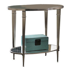 Hammary - Hammary Mallory Oval Glass Top End Table in Satin Nickel - Oval glass top End Table in Satin Nickel belongs to Mallory collection by Hammary