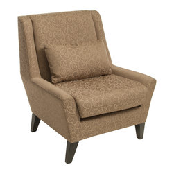 Great Deal Furniture - Zarah Upholstered Accent Chair - The Zarah accent chair offers the seater comfort in style. Upholstered with fine, smooth polyester fabric, this chair features a unique abstract geometric pattern throughout, and the neutral nugget color would match just about any existing decor. It also includes a matching throw pillow for extra comfort and the low seated armrests give the chair a classy contemporary feel.