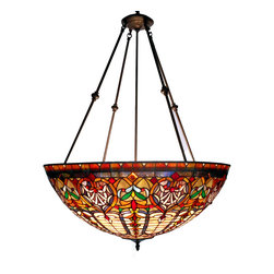 Warehouse of Tiffany - Tiffany-style Victorian Large Chandelier - Handcrafted using the same techniques that were developed by Louis Comfort Tiffany in the early 1900s, this beautiful Tiffany-style piece contains hand-cut pieces of stained glass, each wrapped in fine copper foil.