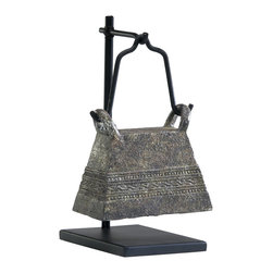 Kathy Kuo Home - Antique Reproduction Global Bazaar Livestock Cowbell Sculpture Stand #3 - This antique cow bell is reincarnated as a lovely object d'art.  Presented on a black wooden stand, this bronze piece takes on an elevated attitude more in tune with a temple bell. A great piece for rustic country or Asian influenced room.