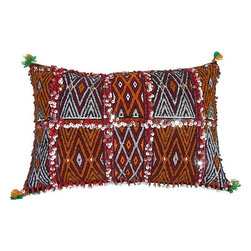 Moroccan Berber Pillow. - This is a Hand-woven pillow by the Zemmour Tribe in the Middle Atlas Mountains of Morocco, with elaborate diamond pattern, abstract designs and tattoo symbols which are belived to have meditative properties.