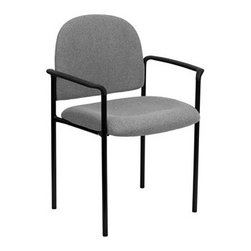Flash Furniture - Flash Furniture Reception Black & Gray Fabric Metal Stack Dining Arm Chair - Complete your office or reception area with this stacking side chair by Flash Furniture. The comfortably padded seat and back are provided to make your guests feel at ease while waiting. The steel frame of this chair is strong enough to last for years of use. [BT-516-1-GY-GG] Operating out of Etowah GA (with a warehouse in Reno NV) Flash Furniture specializes in bold upbeat décor for home office or commercial spaces. With a wide array of colors and fashions to fit your budget Flash Furniture accommodates your every need. Features include Stackable Guest Chair Gray Fabric Upholstery 2.5'' Thick Padded Seat Two Steel Cross Brace Support Bars underneath Seat Integrated Curved Nylon Arms .75'' Leg Diameter Steel Tubular Steel Frame Black Powder Coated Finish CA117 Fire Retardant Foam. Specifications Seat Size: 19W x 18.5D Back Size: 18.5W x 14.25H Arm Height From Floor: 25.5H Seat Height: 19H Finish: Black Powder Coat Color: Black Gray Upholstery: Gray Fabric.
