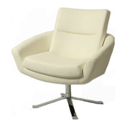 Pastel Furniture - Pastel Aliante Club Chair - Chrome Base - PU Ivory Seat - The Aliante club chair is designed with traditional comfort with modern influence. This chair is upholstered in PU ivory with hydraulic adjustable lift with a Chrome base. This unique design will add a modern flair to any room.