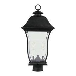 Joshua Marshal - One Light Black Clear Beveled Curved Rectangle Glass Post Light - One Light Black Clear Beveled Curved Rectangle Glass Post Light