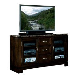 Standard Furniture - Standard Furniture Bella 58 Inch TV Console in Deep Brown - Quality veneers over wood products and select solids used throughout. Group may contain some plastic parts. Bar pulls in brushed nickel color finish. Deep brown color finish with faux marble travertine color tops. Surfaces clean easily with a soft cloth.