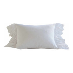"""Taylor Linens - Daisy Dot White Standard Sham - Our classic Daisy Dot linen is reminiscent of antique European linens with intricate embroidery done on delicate linen and organdy.  Any of the pieces in this collection are sure to become a treasured family heirloom.  Cotton and Linen. White. 21""""x27"""""""