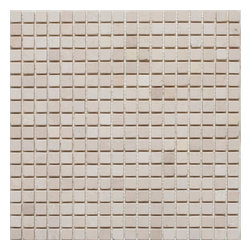 "Mission Stone Tile - 5/8"" x 5/8"" Marble Mosaic Tiles, Crema Marfil Marble, Tumbled - Sold per Square Foot"