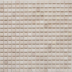 """Mission Stone Tile - 5/8""""x 5/8"""" Marble Mosaic Tiles, Crema Marfil, Tumbled - 5/8""""x5/8""""  Crema Marfil Mosaic Tile- Tumbled- Sold Per 1 sf Sheet"""