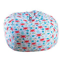 Great Deal Furniture - Ashley 3-Ft Ocean Fun Fabric Bean Bag Chair - Lounge in style with the Ashley 3-foot blue and red fabric bean bag. This unique pattern and plush fabric makes this an inviting piece for any child or adult. Its microfiber ocean fun pattern fabric is soft to the touch and the colors will pop among almost any decor. Made in the United States with an eco-friendly foam filler, this bean bag offers a luxurious and comfortable option to your in home lounging experience.